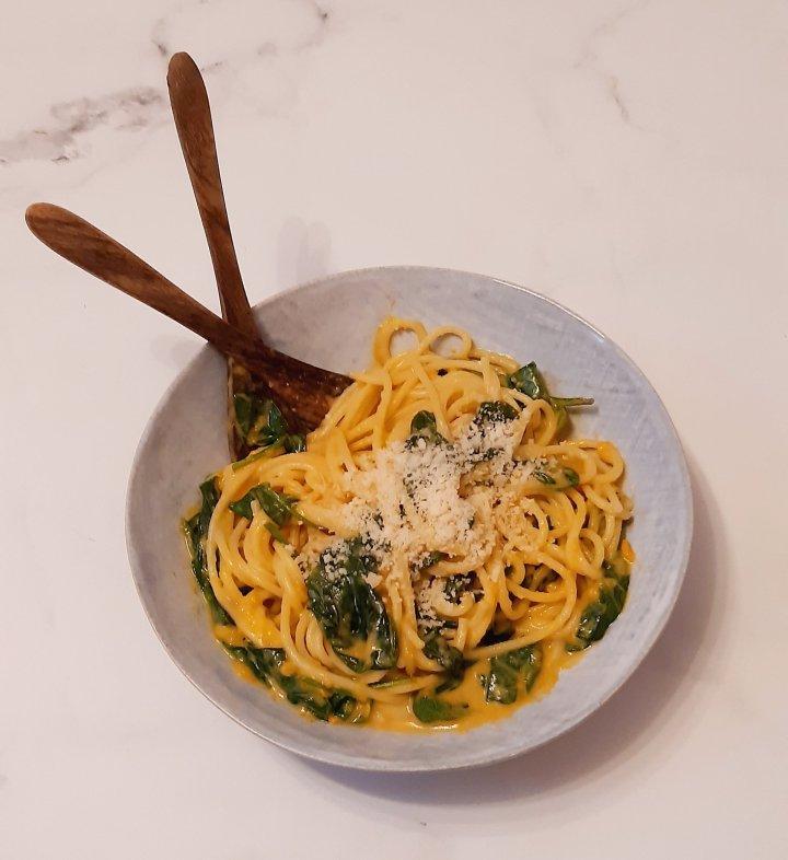 Spaghetti  sauce à la patate douce &épinards